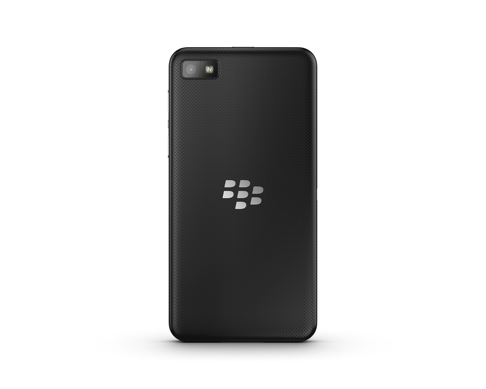 Vista trasera del BlackBerry Z10 negro