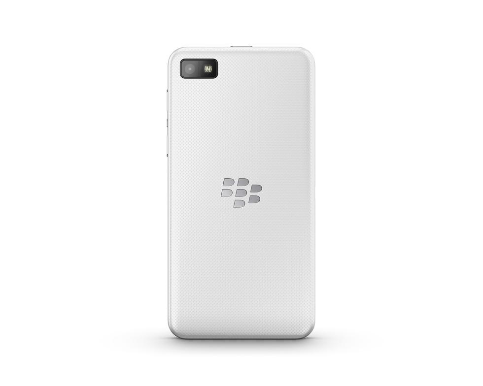Vista trasera del BlackBerry Z10 blanco