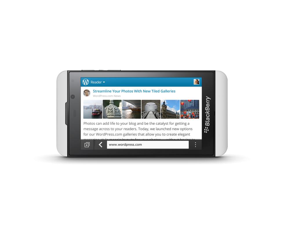 BlackBerry Z10 blanco en modo paisaje