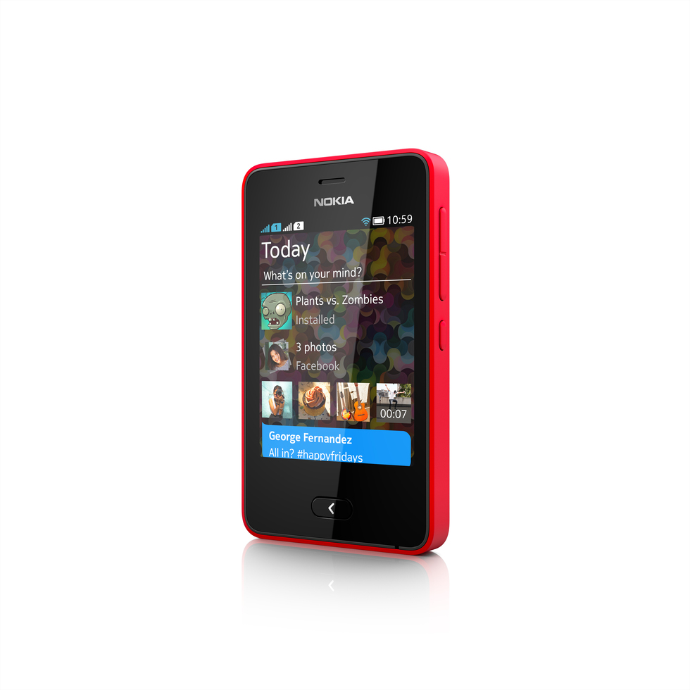 Frontal del Nokia Asha 501 Rojo