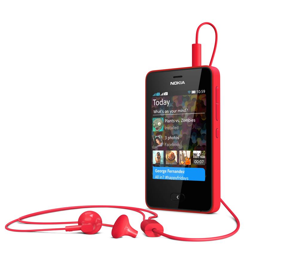 Lateral del Nokia Asha 501 Rojo con cascos