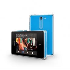 Vista horizontal y trasera del Nokia Asha 502 azul