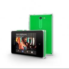Vista horizontal y trasera del Nokia Asha 502 verde