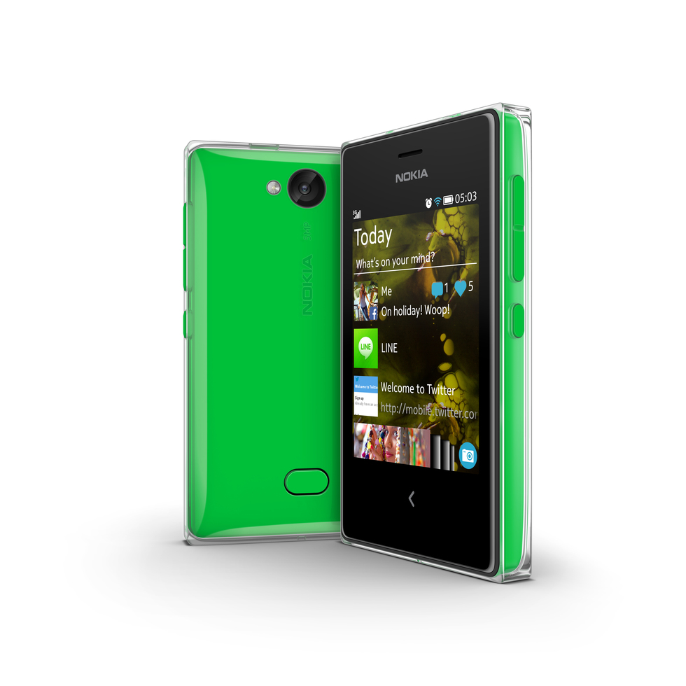 Vista trasera del Nokia Asha 503 verde
