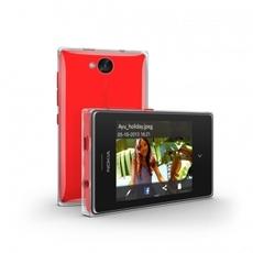 Vista horizontal y delantera del Nokia Asha 503 rojo