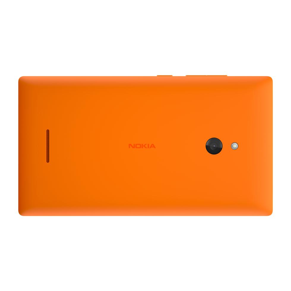 Vista trasera del Nokia XL en naranja