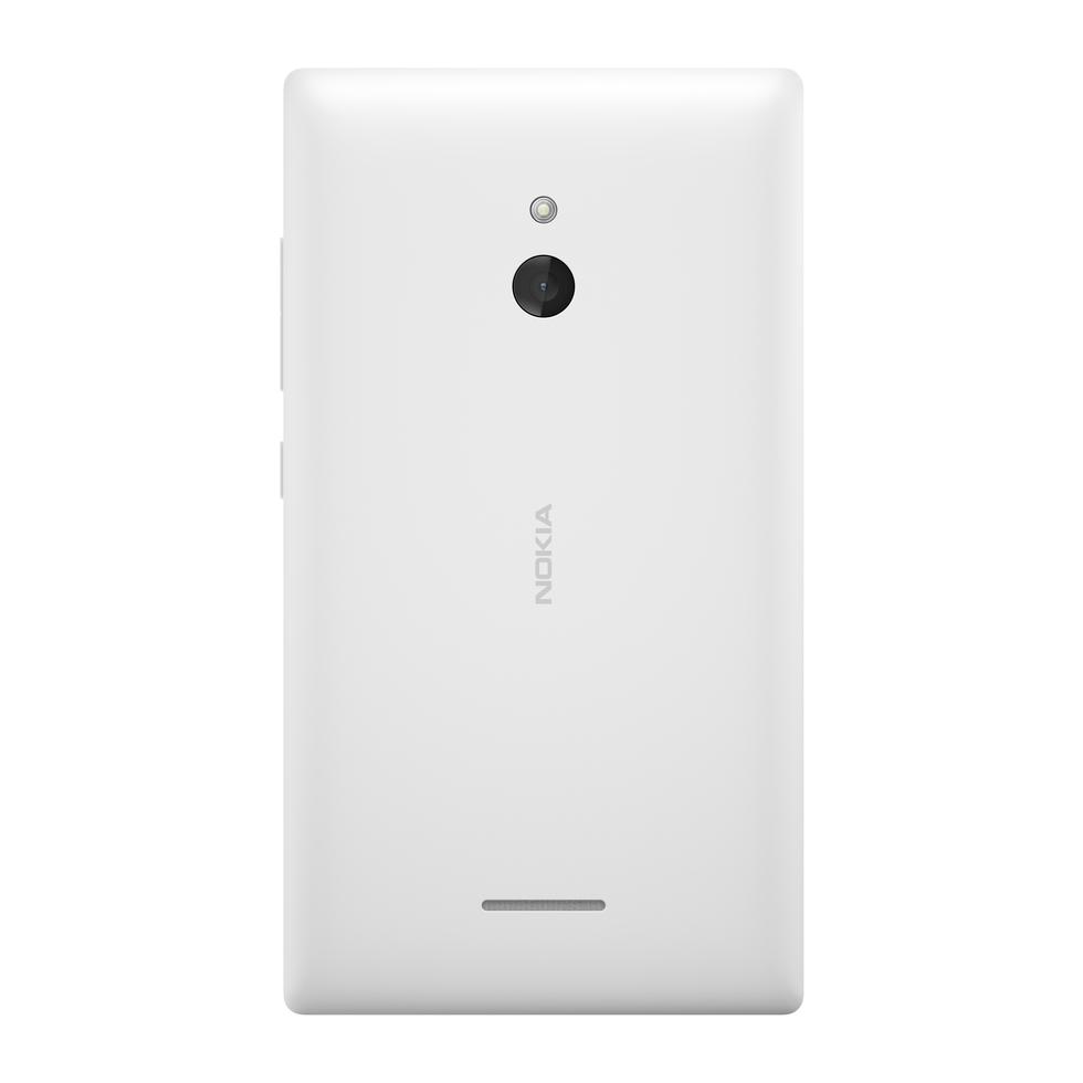 Vista trasera del Nokia XL en blanco