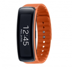 Samsung Gear Fit de color naranja en posición vertical