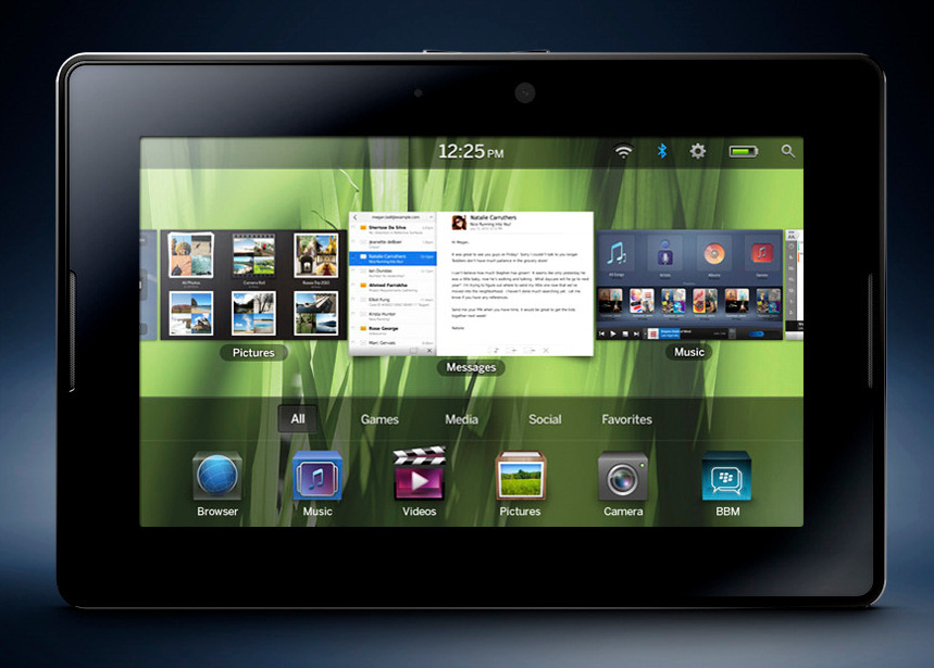 Pantalla principal de PlayBook