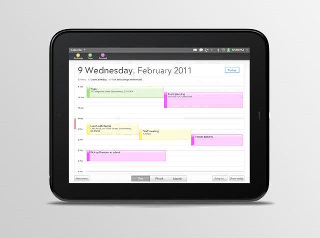 HP Touchpad Calendar