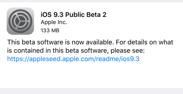 Disponible segunda beta de iOS 9.3