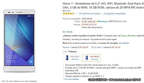 amazon precio honor 7