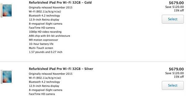 iPad Pro de 12'9 pulgadas reacondicionado en la Apple Store canadiense