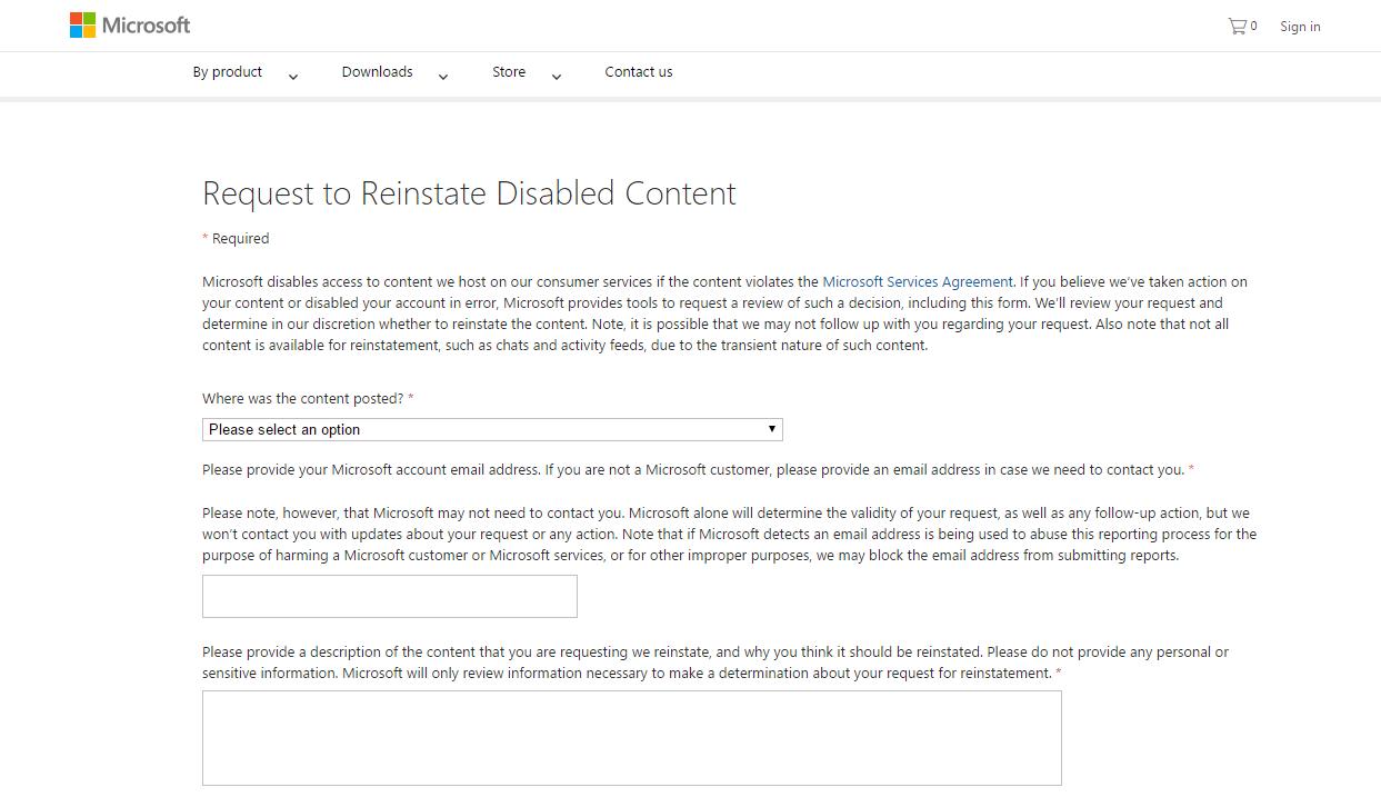 Imagen del nuevo formulario de aviso contra contenido de odio en Microsoft.