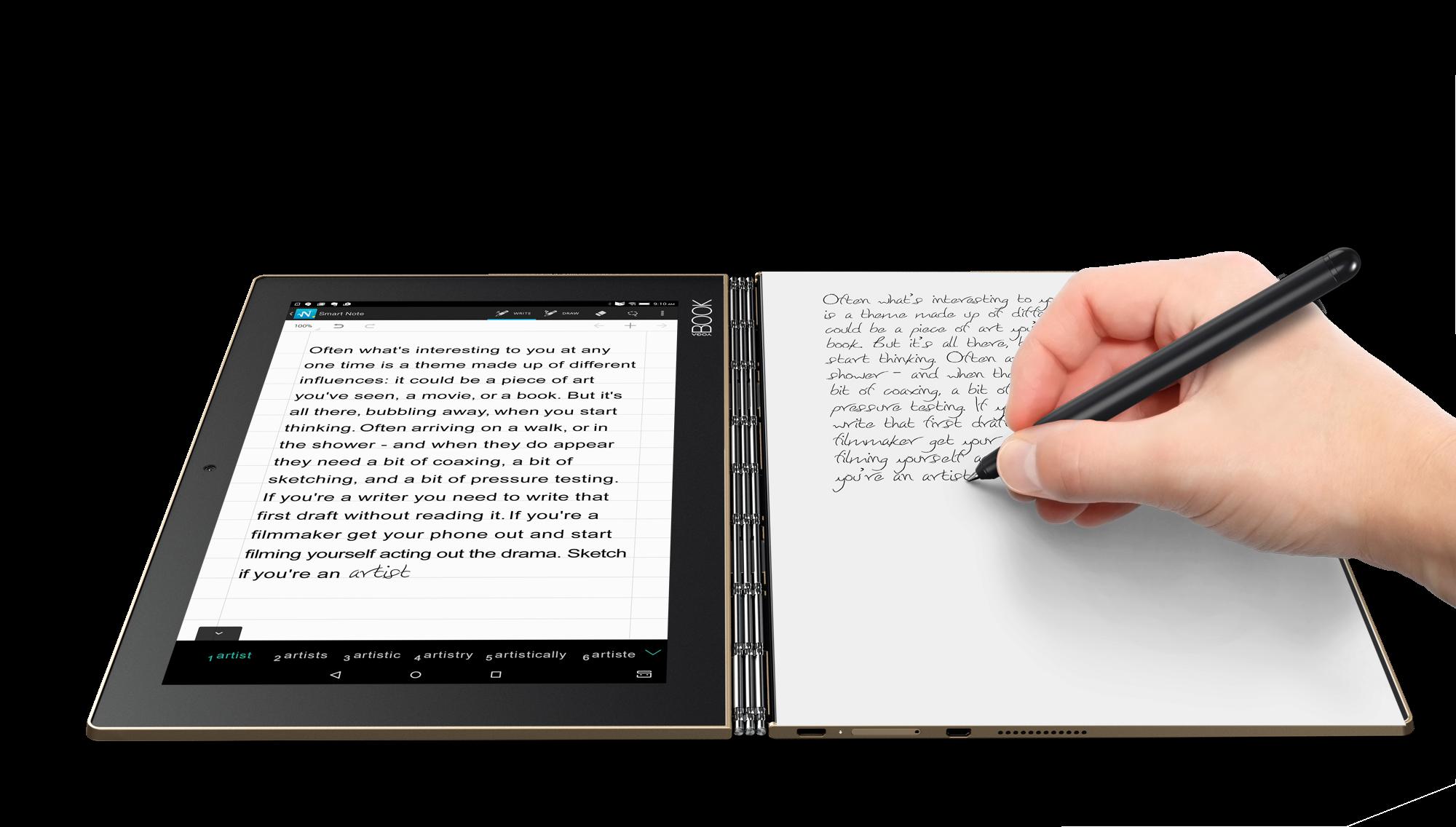 Ejemplo de la escritura real-digital que ofrece este nuevo dispositivo de Lenovo