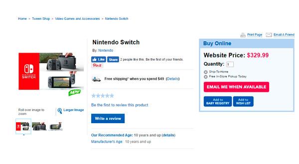 Se filtra el posible precio de Nintendo Switch en una juguetería