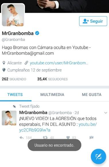 El youtuber MrGranbomba cierra sus redes sociales