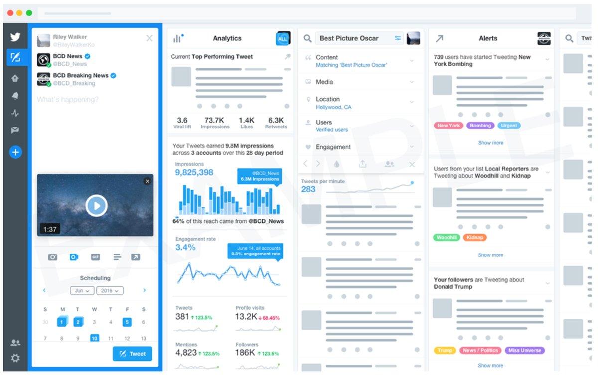 Mockup de la versión mejorada de Tweetdeck
