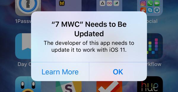 Aviso de las aplicaciones de 32 bits en iOS 11
