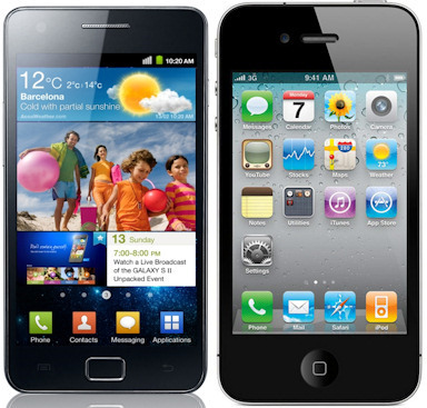 Samsung Galaxy S II y iPhone 4