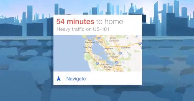 Captura de Google Now en el vídeo promocional