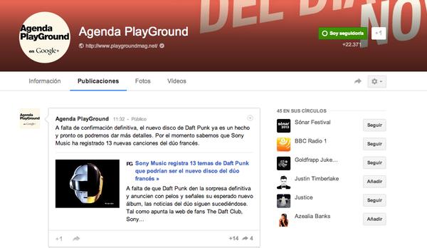 Perfil de PlayGround en Google+