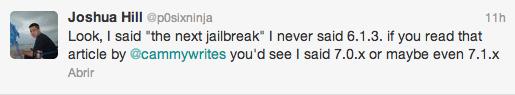 Tweet que aclara que el próximo Jailbreak es para iOS 7