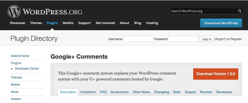 Captura del sitio desde donde se descarga el plugin