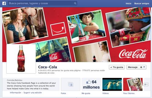 Perfil de coca Cola en Facebook