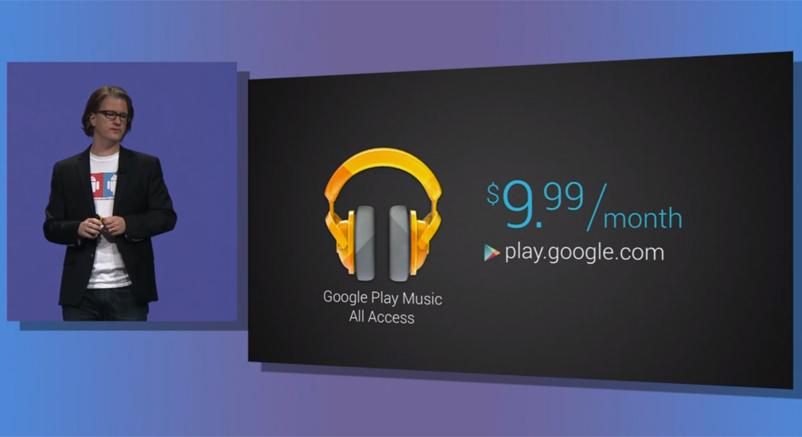 Momento en el que anuncian la cuota de Google Music