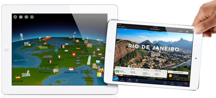 iPad normal con pantalla retina a la izquierda y iPad Mini a la derecha sin ella