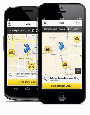 Interfaz de la Hailo en Android e iOS