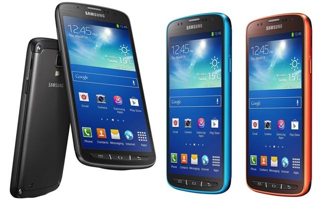 Galaxy S4 Active en negro, azul y naranja metalizado
