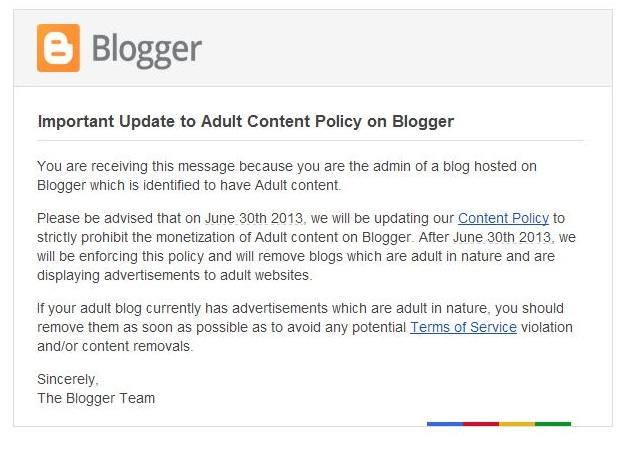 Mensaje que han recibido los blogueros de Google