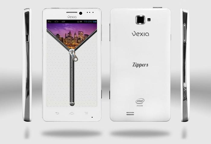 Imagen del Vexia Zippers Phone en la parte frontal y trasera