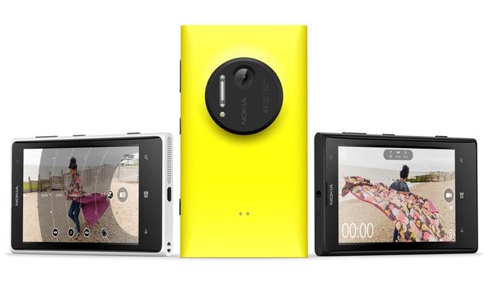 Así es la interfaz de la aplicación para sacar una foto como para grabar. También se ve la parte de atrás del Lumia 1020