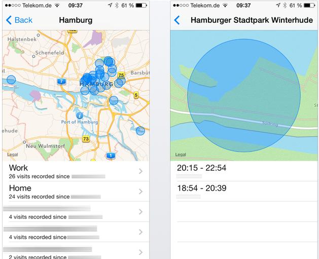 Capturas de pantalla del historial de localizaciones de iOS 7