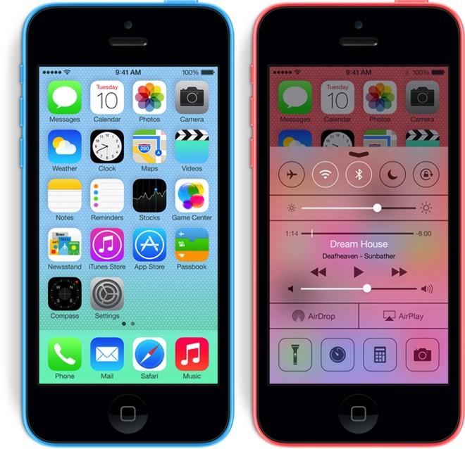 Dos de los colores del nuevo iPhone 5C