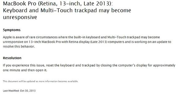 Apple recomienda bajar la tapa durante un minuto como medida temporal