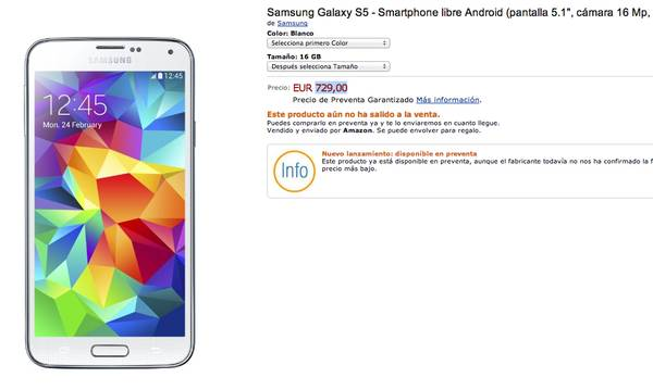 Amazon le pone precio al flamante Galaxy S5