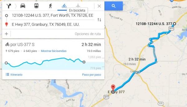 Ejemplo de rutas en bicicleta con Google Maps