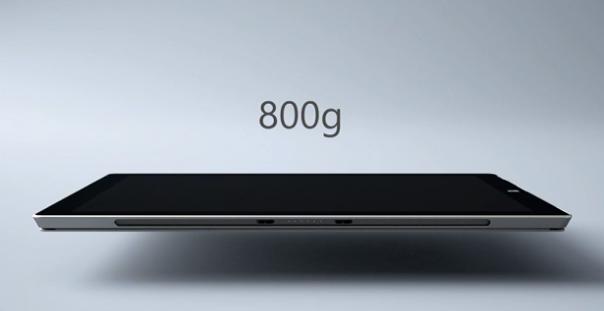 La tablet pesa sólo 800 gramos a pesar de sus 12 pulgadas