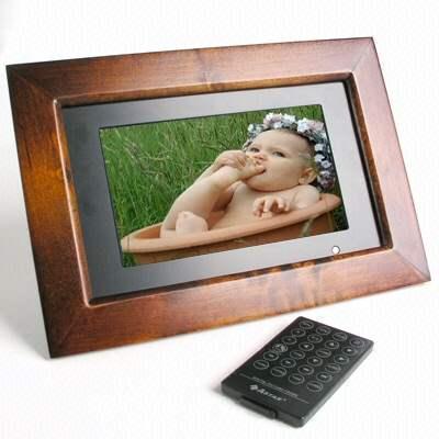 Marco de fotos digital de madera