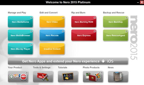 Nero 2015 ofrece una interfaz de trabajo aséptica