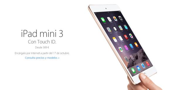 iPad mini 3 en tres colores y modelos diferentes