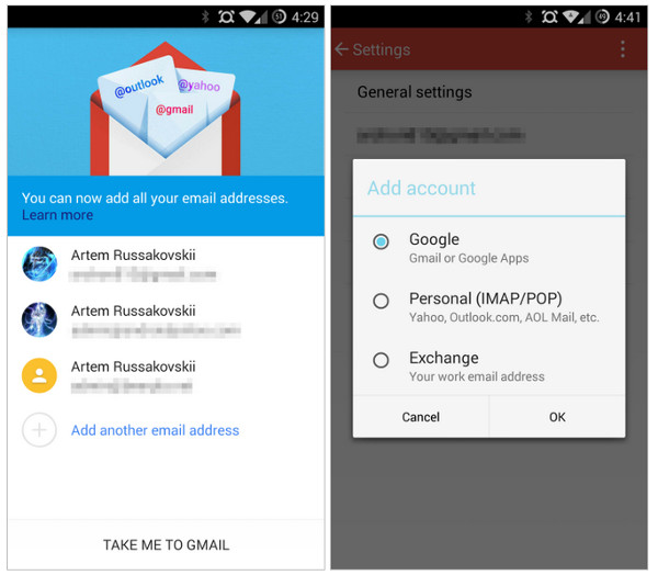 Gmail, Personal y Exchange