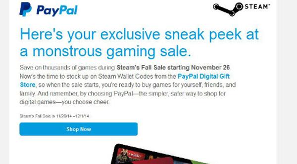 PayPal promociona las tarjetas prepago de Steam
