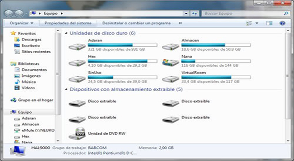 Estructura en sistemas Windows (unidades con raíces independientes).