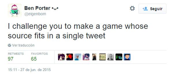 El reto lo lanzaba en su cuenta y era claro y conciso: hacer un juego con solo 140 caracteres