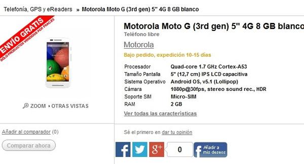 Antes de actualizar, este era el MotoG 2015 que publicaba Fnac